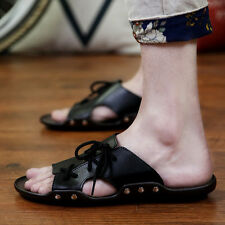 Men Summer Daily Casual Soft Leather Sandals Trend Type Beach Slippers Eu 38-44