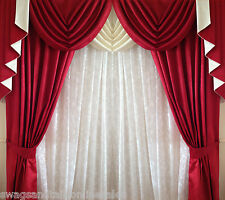 "SWAGS AND TAILS + CURTAINS, FITS 66"" (167cm) Wide x 71"" (180cm) FREE POST"