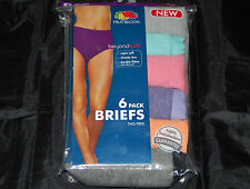 New Women's Fruit of the Loom 6 Pack Cotton Briefs Underwear Panties Size 5-10