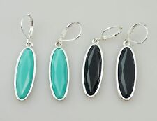 Joan Rivers Oval Faceted Stone Drop Dangle Earrings, NEW & SIGNED