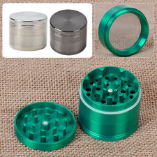 "Green Silver Black 4 Piece Zinc Tobacco Spice Herb Grinder 2.0"" Metal Crusher"