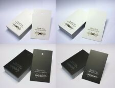 50 Wedding THANK YOU CARDS Gift Favour Gold Silver Foil Swing Tag  CHOOSE COLOUR