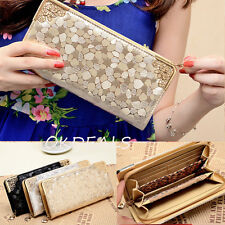 New Gold Lady's Women Zip Bag PU Leather Long Purse Clutch Wallet Card Holder