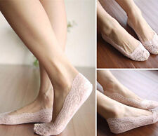 Silicone Sexy Invisible Thin Female feet Low Cut Socks Liner Beige/Black