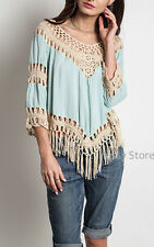 Umgee Usa Crochet Fringe Top Mint Soft Southern Boho Gypsy Hippie Shirt S,M,L