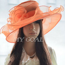Lady Women Church Derby Hat Wide Brim Cap Wedding Dress Tea Party Floral Bridal