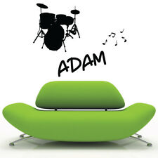 DRUM KIT personalised wall stickers for kids bedroom vinyl wall decals