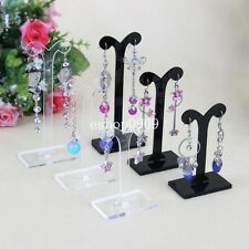 New Set of 3 Acrylic Clear Black Earrings Display Stand Jewelry Holder Rack