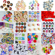 50/100x Mixed Wooden Wood Button Craft Sewing Scrapbooking Cardmaking DIY Gift