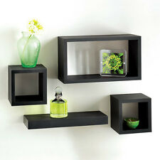 Set of 4 Floating Wall Storage Display Unit Cubes Shelves