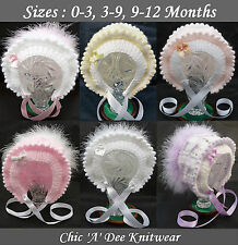 Baby Bonnets : Hand Knitted Baby Hats Sizes 0-3, 3-9, 9-12 Months