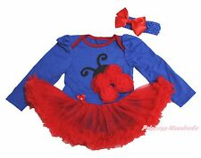 Royal Blue Girl L/S Bodysuit Red Beetle Ladybug Ladybird Baby Dress Set NB-18M