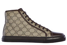 GUCCI CHAUSSURES BASKETS SNEAKERS HAUTES HOMME EN CUIR GG SUPREME NAPPA MOOR CD8