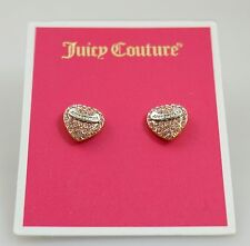 Juicy Couture Pink Crystal Pave Gold Tone Heart Stud Earrings NWT