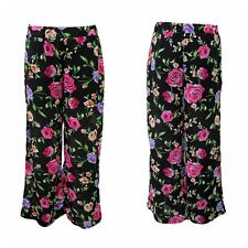 NEW WOMENS LADIES CHIFFON FLORAL PRINT CASUAL HALF LINED FLARED PALAZZO TROUSERS