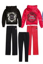 NEW JUICY COUTURE Velour Pleat Neck Hoodie& Pants Tracksuit Separates Girls 7-16