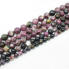 5,7,9,10,12mmmm Beautiful Natural Multi-Color Tourmaline Round Loose Beads 15""