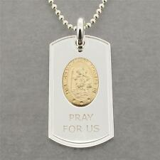 Solid Silver St Christopher Dog Tag With Gold Plated Medal & Engraving Option