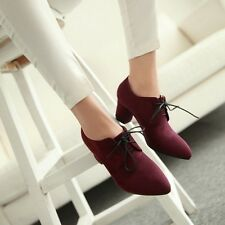 Womens NEW Fashion Pointy Toe Lace Up Block High Heel Oxfords Loafers Shoes Size