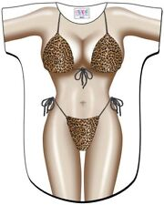 Leopard Bikini Swimsuit Cover Up Tee T-Shirt Cruise Party Halloween Costumes New