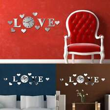 Hot DIY Silver Acrylic Mirror Effect Wall Sticker LOVE Clock Movement Decoration