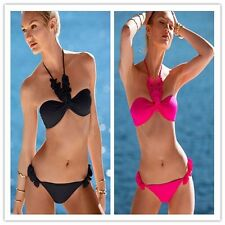 2015 Women Sexy Strappy Solid Floral Solid Suspender Thong Bikini Set Beach Wear