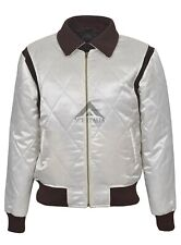 'DRIVE' GOLD SCORPION Men's Satin BEIGE Fitted RYAN GOSLING Film Movie Jacket