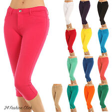 Women's Soft Skinny Stretch Solid Knit Capri Pant Jeggings 14 Colors Size S- XL
