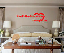 I Know I Could Use Somebody (Kings of Leon) Lyric wall decal sticker quote