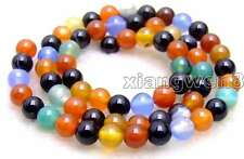 "SALE Small 8mm Round multicolor agate gemstone Beads strand 15""-los627"