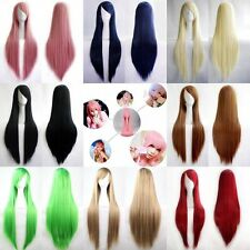 Fashion Womens Multicolor Long Straight Wig Anime Cosplay Party Wigs 80cm