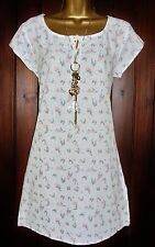 New Ladies White Stuff SZ 8-10 WHITE Tunic Cotton Summer Holiday Beach Cover up