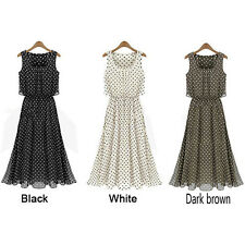Summer women Chiffon Sleeveless Long Maxi Polka Dot Dress Plus Size dress