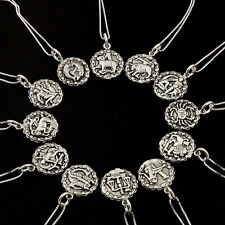 Sterling silver Astrology Zodiac symbol sign necklace 925 box chain pendant S-25