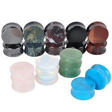 2x POP Semi Precious Stone Double Flare Saddle Ear Plug Tunnel Expander 3-25mm