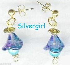 Dangle Glass Flower Earrings Creamsicle Purple Blue Red Pink Amber Aqua Sapphire