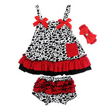 Hot Kids Baby Girls Infant Sleeveless Top Dress+PP Pants Outfit Clothes 3pcs Set