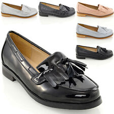 Womens Flat Loafers Casual Black Ladies Fringe Tassel Work School Pumps Shoes