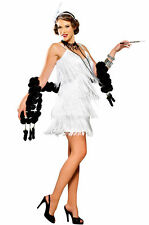 Ladies White Charleston 1920'S Flapper Gatsby Fancy Dress Costume  6 8 10 12 14