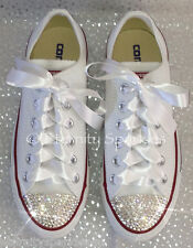 Customised White Crystal Diamante Bling Converse All Star Lo Ribbon Laces UK 3-7