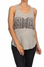 NW Women's Printed Aztec Black Graphic Design Sexy Grey L/Blue Tank Top S M L