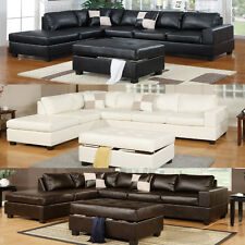 Modern Living room Black Cream Sectional Couch 3 Pc Sectional Sofa 100% Bonded