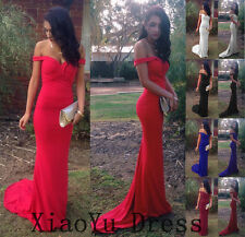New Sexy Off Shoulder Formal Evening Party Cocktail Prom Bodycon Long Dress Gown