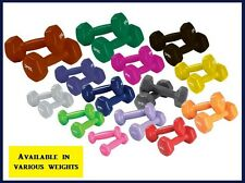 Deluxe Vinyl Dumbbells Hexagon Non Slip Hand Weights Various Lbs Choice Set of 2