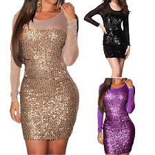 Women Dress Sequins Shiny Long Sleeve Night Club Evening Party Sexy