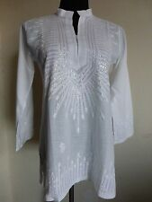 Women's Boho Peasant Bollywood India Crochet Embroidered Sequin Tunic Blouse NWT