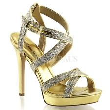 Fabulicious Shoes LUMINA-21 Sandals Heels Gold Glitter Bridesmaid Evening Party