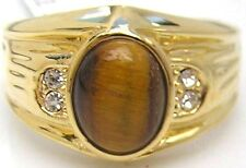 18K GOLD EP DIAMOND SIMULATED OVAL MENS RING TIGER EYE sz 8-14 you choose