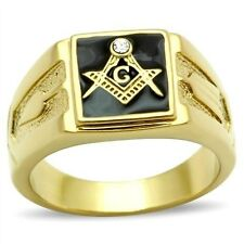 18K GOLD EP MASONIC FREEMASON BLACK MENS CZ RING size 8-14 YOU CHOOSE MASON 33