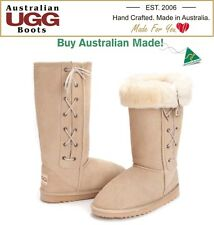 NEW 100% Australian Made, Tall | Long Sheepskin Lace Up Ugg Boots. 16 Colours.